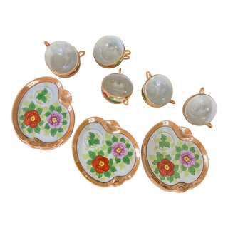 Chinoiserie Hand Painted Luncheon Set - 24 Pieces For Sale