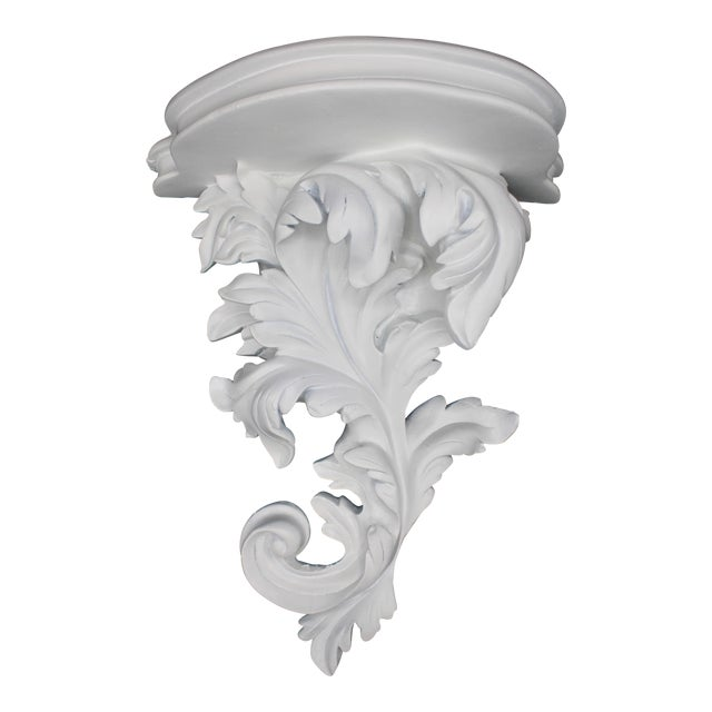Large White Acanthus Leaf Wall Shelf For Sale