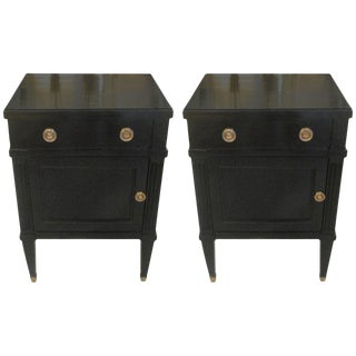 Louis XVI Style Ebonized Mahogany Nightstands - a Pair For Sale