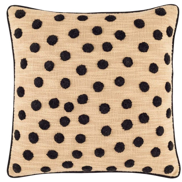 Designer Flax + Black Polka Dot Embroidered Pillow With Insert For Sale