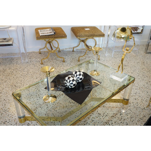 Vintage Candle Holders Lucite and Polished Brass Candlesticks - a Pair For Sale - Image 11 of 12