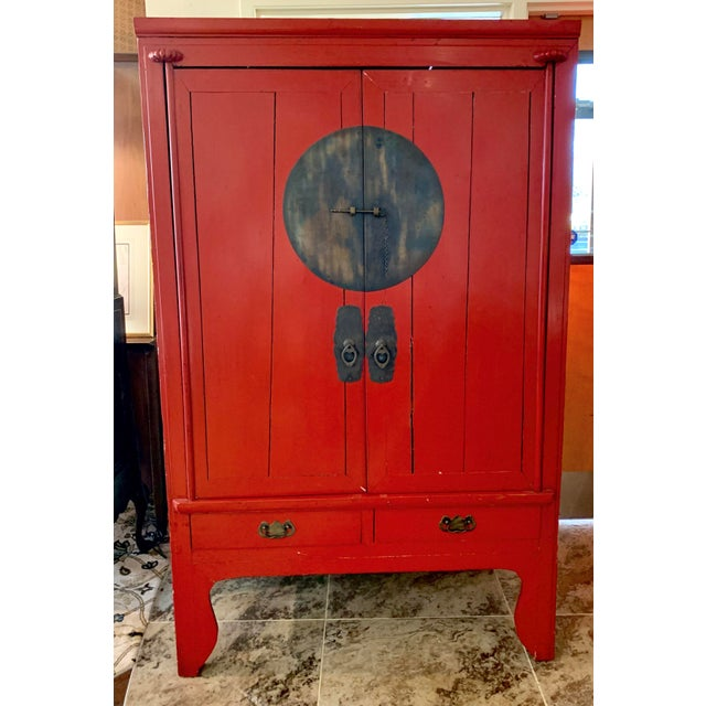Chinese Red Lacquered Armoire Cabinet For Sale - Image 11 of 11