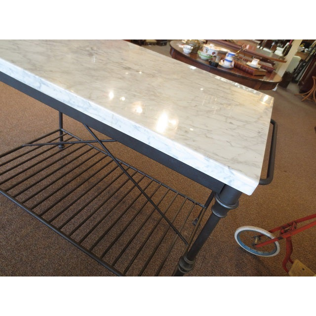 Marble Top Metal Base Kitchen Island - Image 8 of 9