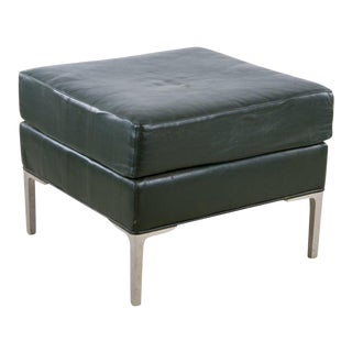 1960s Mid-Century Modern Gray Leather Ottoman For Sale