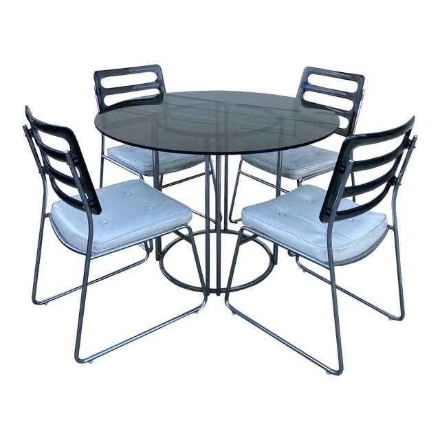 Vintage Chromcraft Chrome & Smoke Glass Dinette Set - 5 Pieces For Sale