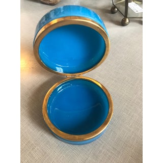 Antique French Blue Round Opaline Glass Box Preview