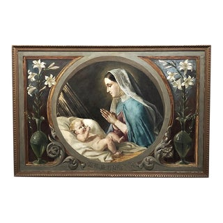 Antique Oil Painting on Canvas of Madonna & Child For Sale