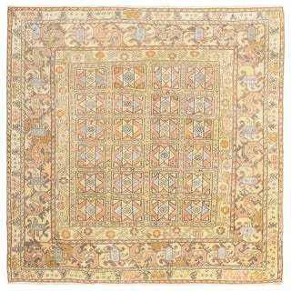 Antique Turkish Oushak Small Square Decorative Rug - 1′2″ × 1′2″ For Sale