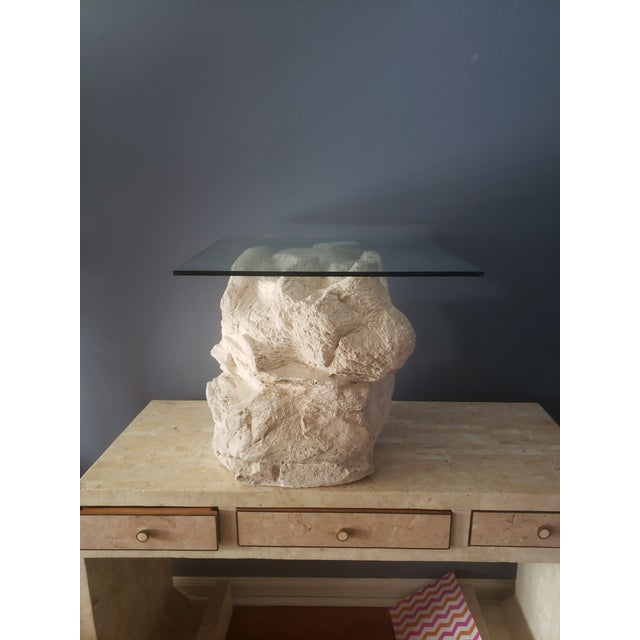 Sculptural plaster faux rock side table attributed to Sirmos. Impressive piece of functional art this Sirmos Quarry piece...