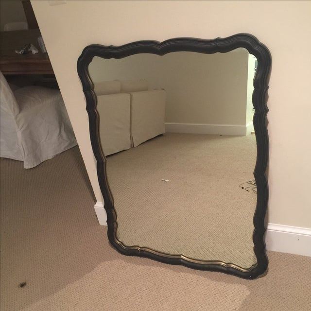 Hollywood Regency Traditional Black and Gold Scalloped Mirror For Sale - Image 3 of 11