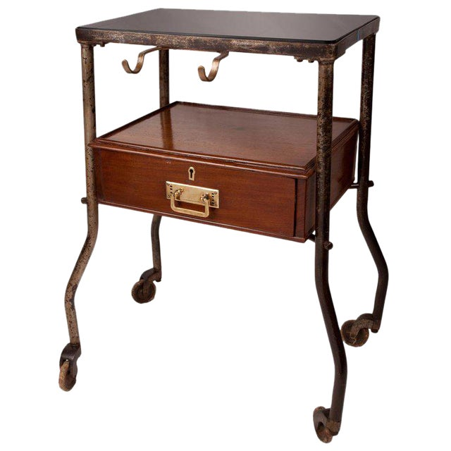 Ship's Teak and Smoked Glass Medical Trolley, Mid-1900s For Sale