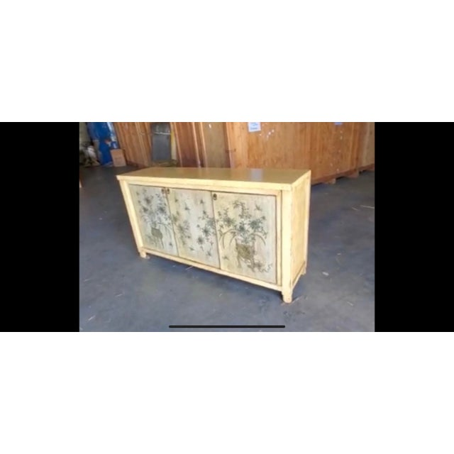 1970s Asian Style Credenza With Floral Motif Hand-Painted Door Panels For Sale - Image 9 of 11