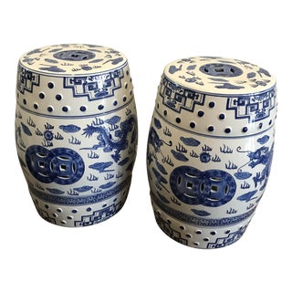 Chinese Chinoiserie Blue & White Dragon Stools - A Pair