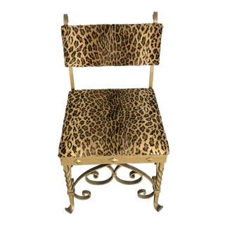1920s Wrought Iron & Leopard Velvet Upholstery Chair For Sale