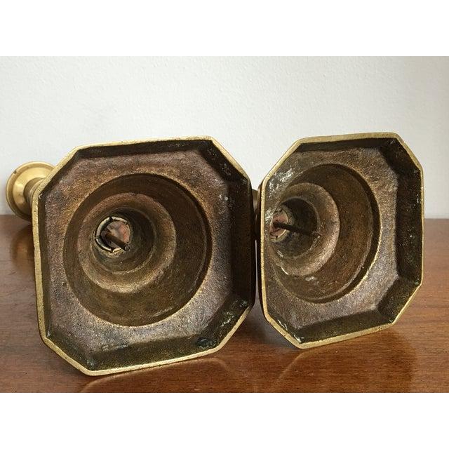 Antique Diamond Prince Brass Candlesticks - A Pair - Image 6 of 10
