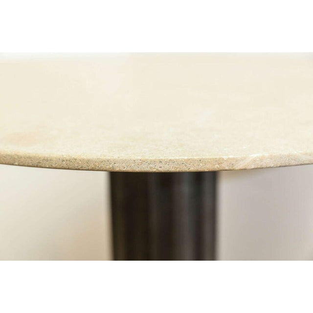 Two Fluted Iron and Stone Side Tables For Sale - Image 4 of 9