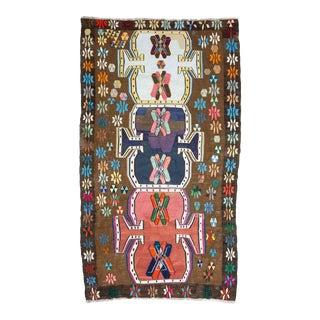 Vintage Colorful Turkish Kars Kilim Rug For Sale