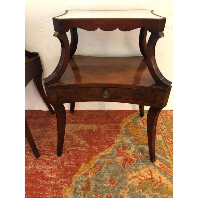 1930s Traditional Grosfeld House Crotch Mahogany 2-Tier Nightstand - a Pair For Sale - Image 10 of 13