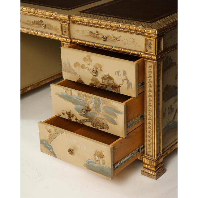 Camel Chinoiserie Hand-Painted Parcel Gilt Partners Pedestal Desk For Sale - Image 8 of 12