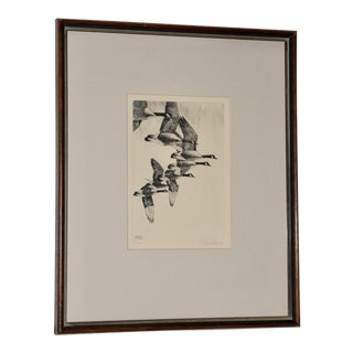 "Richard Bishop (American, 1887-1975) ""Geese"" Etching C.1938 For Sale"