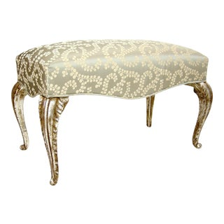 French Arcadia Silk Lampas & White Gold Gilt-Wood Bench by Randy Esada Designs For Sale