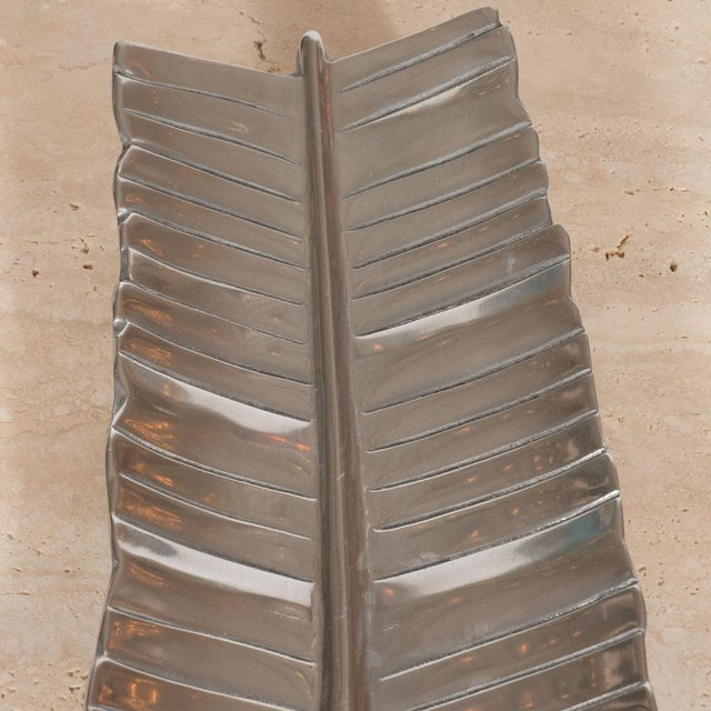 Bruce Fox 1950s Bruce Fox Aluminum Banana Leaf Tray For Sale - Image 4 of 5