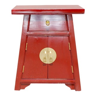 Chinese Distressed Orange Red a Shape End Table Nightstand For Sale