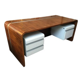 Important Michel Boyer Waterfall Desk for the Banque Rothschild, Paris