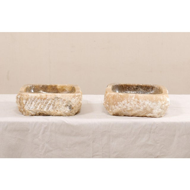 Early 21st Century Pair of Natural Onyx Sink Basins For Sale - Image 5 of 12
