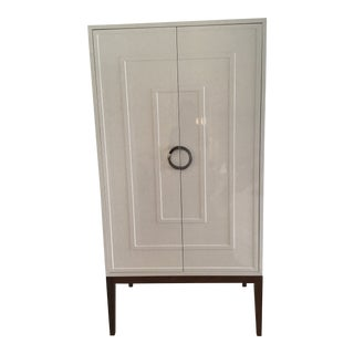 Hollywood Regency Harrison White Lacquer Nickel Cabinet Wardrobe For Sale