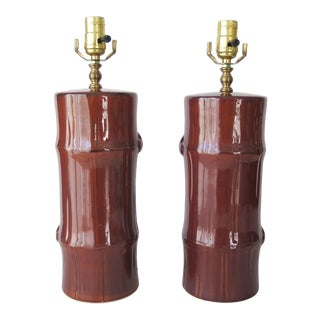 Late 20th Century Ceramic Faux Bamboo Lamps - a Pair For Sale