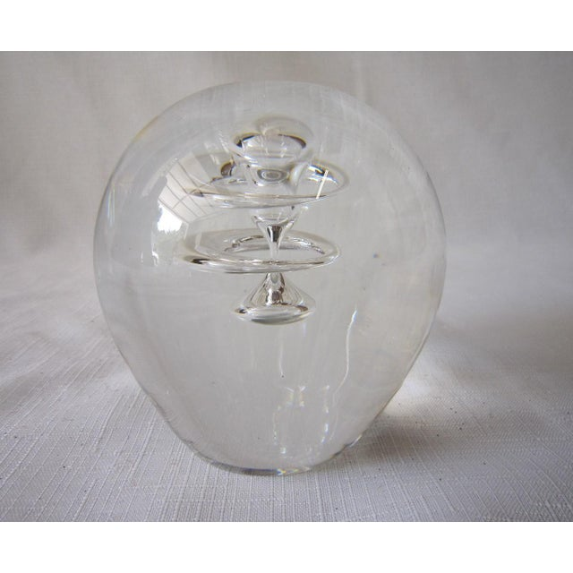 Mid century Danish glass paperweight. Original Holme Gaard sticker is still attached at the base. It has an interesting...