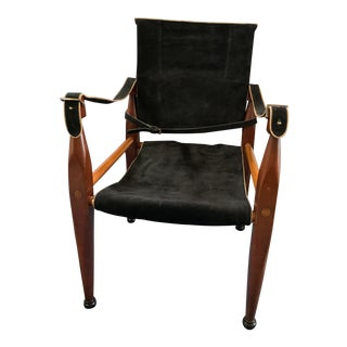 Modern Authentic Models Bridle Leather Campaign Chair For Sale