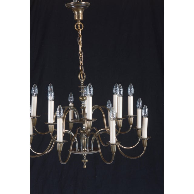 Vintage Large Brass Sixteen-Arms Chandelier For Sale - Image 6 of 11