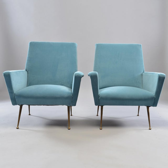 Gold Mid-Century Italian Arm Chairs With New Sky Blue Upholstery - a Pair For Sale - Image 8 of 11