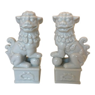 White Porcelain Foo Dogs - A Pair