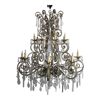 20th Century Large Macaroni Beaded French Style Chandelier For Sale
