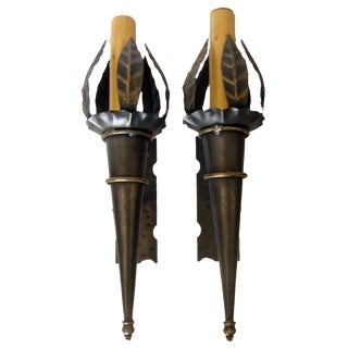 French Black & Gold Torch Sconces, Pair For Sale