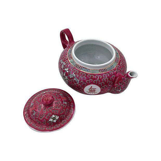 MunShou Red Porcelain Tea Pot - Image 3 of 6