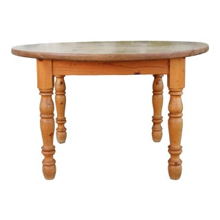 Vintage Rustic Round Kitchen Table For Sale