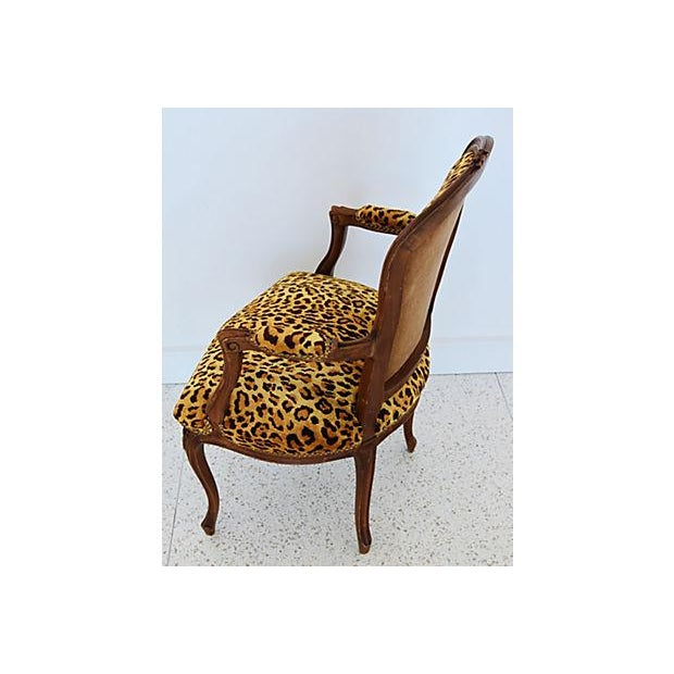 1950s Leopard Velvet Carved Armchair For Sale - Image 10 of 12