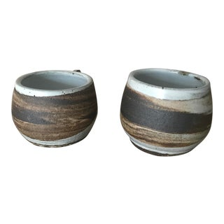 Agateware Brown White Swirl Mugs - a Pair For Sale