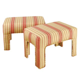 Pair of Yellow, Red, and Green Stripe Custom Upholstered Benches For Sale