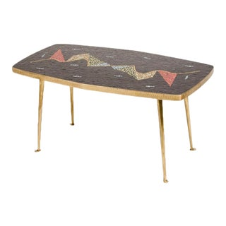1950s Mid-Century German Mosaic Top Coffee Table For Sale