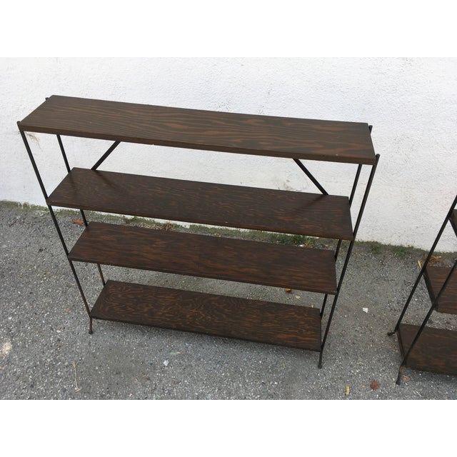 Modern 1950s Modern Style Iron & Wood Shelves - a Pair For Sale - Image 3 of 8