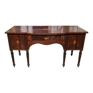 Antique Early 19c English Regency Inlaid Mahogany Sideboard Buffet For Sale