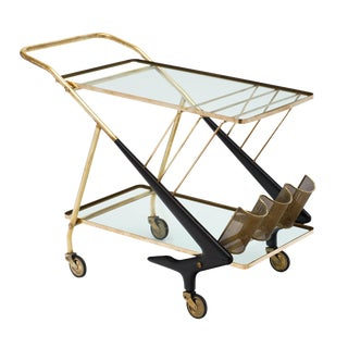 Cesare Lacca Italian Modernist Bar Cart For Sale