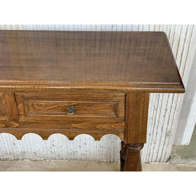 Brown 19th Spanish Walnut Console Table With Two Drawers For Sale - Image 8 of 12