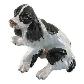 Vintage Italian Majolica Spaniel Dog Figurine For Sale