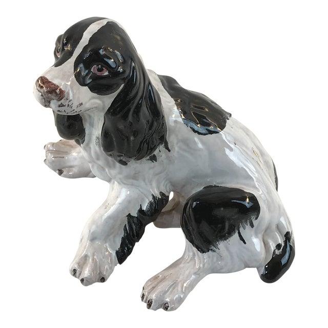 Vintage Italian Majolica Spaniel Dog Figurine For Sale